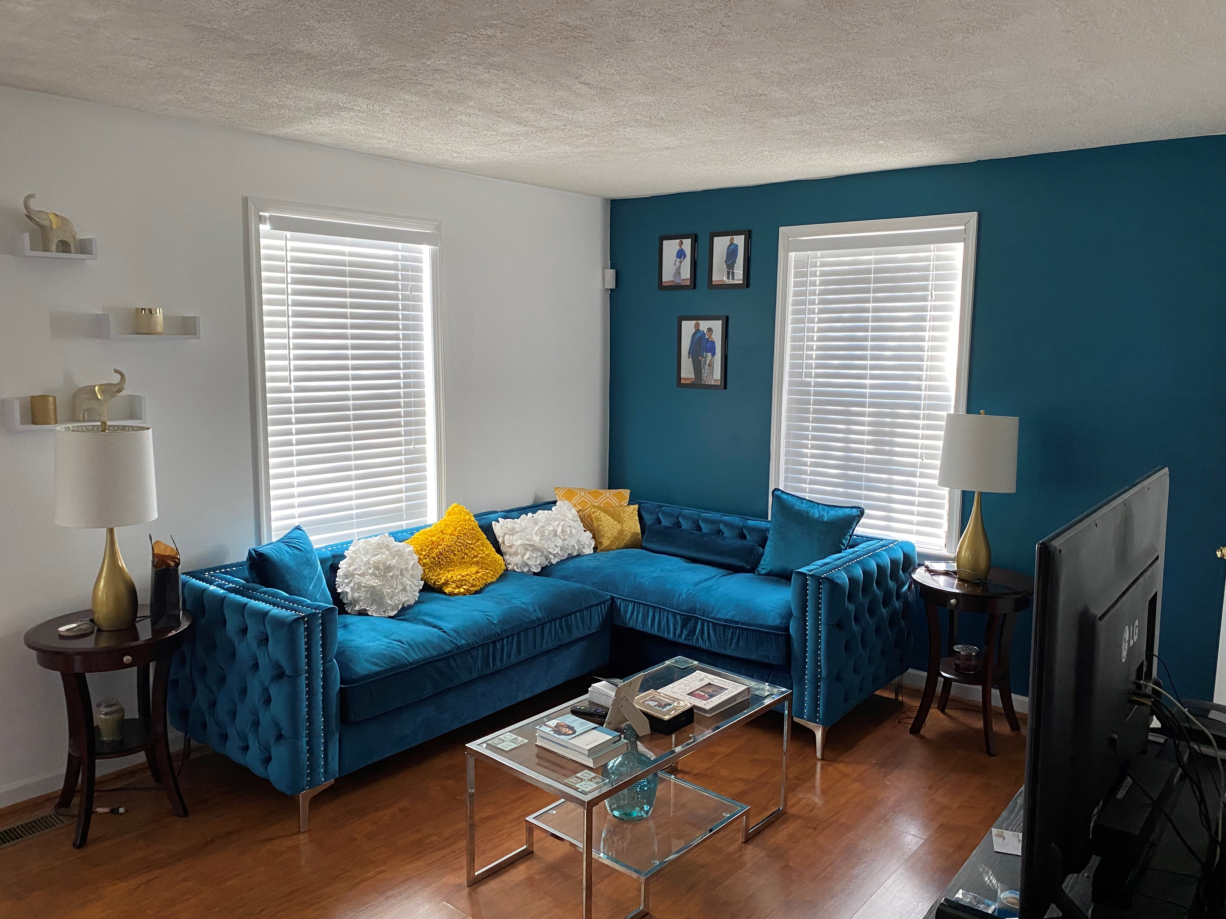 Teal Tufted Couch
